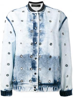 Bleached effect bomber jacket Filles A Papa. Цвет: синий