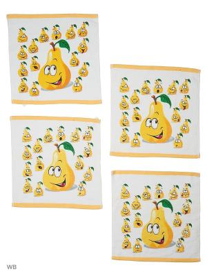 Набор кухонных салфеток, Чудеса с грядки - 4шт. (32*32) Dorothy's Нome. Цвет: желтый, белый, черный