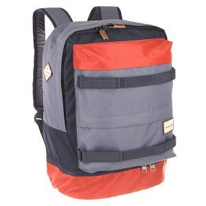 Рюкзак спортивный  Twin Backpack Barn Red Quiksilver. Цвет: синий,оранжевый,серый
