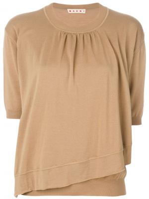 Асимметричный свитер Marni. Цвет: коричневый