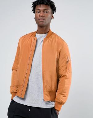 ASOS Оранжевая куртка‑пилот с карманом в стиле MA1 и контрастной подкладкой. Цвет: оранжевый
