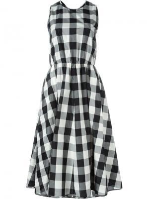Расклешенное платье в клетку Rochas. Цвет: чёрный