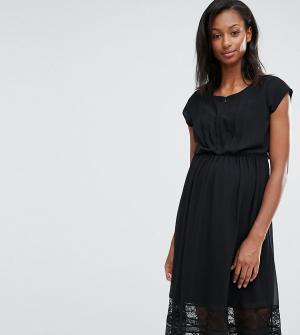 Mama.licious Платье для беременных и кормящих с кружевной отделкой Mamalicious Alex. Цвет: черный