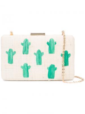 Плетеный клатч с вышитыми кактусами Kayu. Цвет: телесный