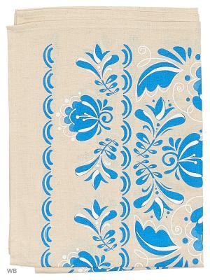 Полотенце льняное Гжель GrandStyle. Цвет: синий, серый