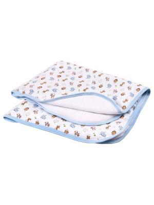 Одеяло трикотажное 75х90 Зоопарк DAISY. Цвет: голубой,светло-коричневый,белый