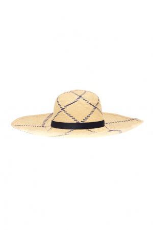 Соломенная шляпа Playa Natural Blue Lotus Artesano. Цвет: кремовый, темно-синий