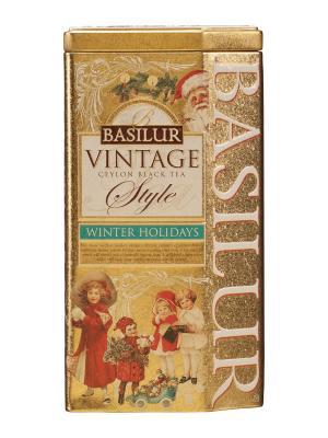 Чай Basilur ВИНТАЖ Зимние каникулы 100г.. Цвет: бирюзовый, золотистый