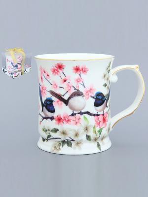 Кружка Райские птички Elan Gallery. Цвет: белый, синий, розовый