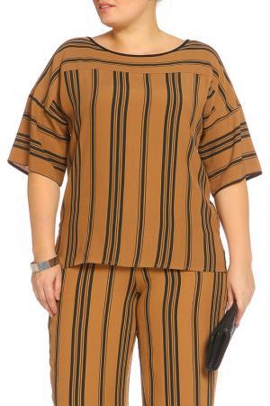 Рубашка-блузка Elena Miro. Цвет: коричневый, черный, полоска, п