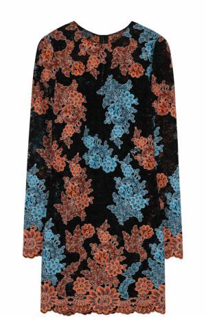 Кружевное мини-платье с длинным рукавом Dolce & Gabbana. Цвет: разноцветный