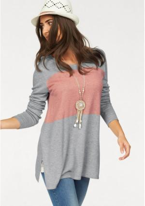 Удлиненный пуловер BOYSENS BOYSEN'S. Цвет: серый меланжевый/розовый, черный/серый