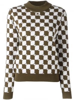 Клетчатый свитер Courrèges. Цвет: зелёный