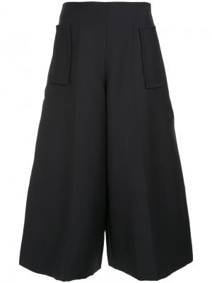 Укороченная широкие брюки Delpozo. Цвет: чёрный