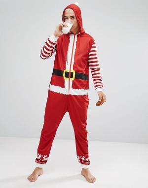 SSDD Новогодний комбинезон в виде Санта-Клауса с капюшоном. Цвет: красный