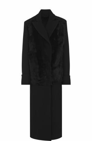 Шерстяное пальто прямого кроя с отделкой из овчины Ann Demeulemeester. Цвет: черный