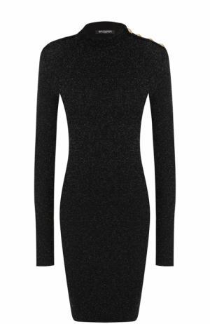 Платье-футляр с металлизированной отделкой Balmain. Цвет: черный