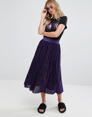 Monki Плиссированная юбка миди. Цвет: фиолетовый