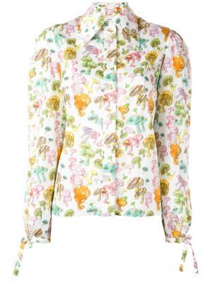 Рубашка с принтом грибов Olympia Le-Tan. Цвет: белый