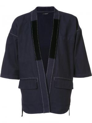 Пиджак с контрастной отделкой Wooster + Lardini. Цвет: синий