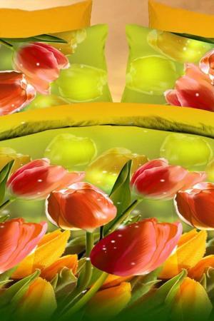Постельное бельё 1,5 сп. Французский стиль. Цвет: зеленый, красный
