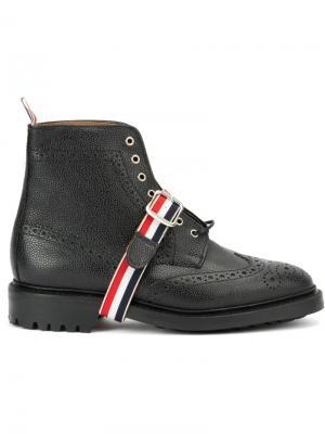 Ботинки с контрастным ремешком Thom Browne. Цвет: чёрный