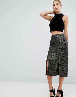 ASOS Жаккардовая юбка-карандаш со звериным узором металлик. Цвет: мульти