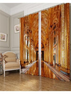 Фотошторы Тронный зал, Блэкаут Сирень. Цвет: желтый, коричневый, оранжевый