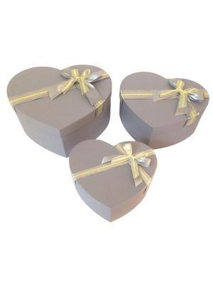 Коробка картонная, набор из 3х сердец, 22,5х19,5х9,5  3х27,5х13,5 сантиметров. VELD-CO. Цвет: светло-серый, кремовый
