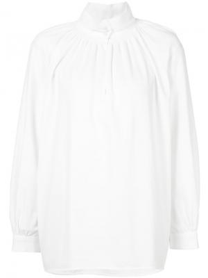 Рубашка с присборенной отделкой Vilshenko. Цвет: белый