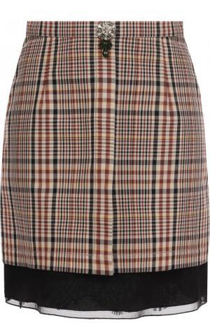 Хлопковая мини-юбка в клетку No. 21. Цвет: коричневый