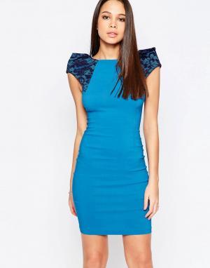 Vesper Платье-футляр с кружевными вставками на плечах Rogue. Цвет: синий