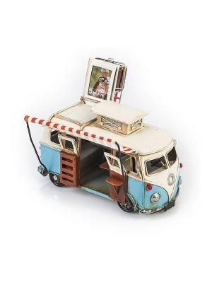 Модель Ретро Автобус белый с голубым, фоторамкой 4х5см PLATINUM quality. Цвет: белый, голубой