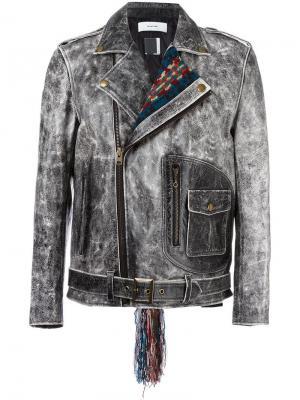 Байкерская куртка с контрастным воротником Facetasm. Цвет: серый