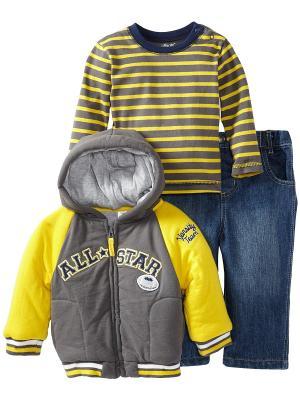 Комплект из 3-х предметов Звезда бейсбола Little Me. Цвет: желтый, синий, серый