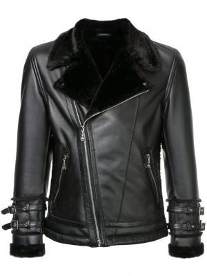 Байкерская куртка с меховым воротником Guild Prime. Цвет: чёрный