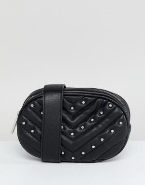 Skinnydip Черная сумка-кошелек на пояс с заклепками Jamie. Цвет: черный