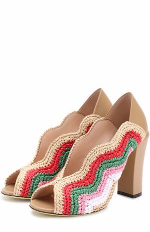 Комбинированные туфли с фигурным вырезом Fendi. Цвет: разноцветный