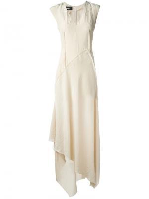 Длинное платье с асимметричным подолом Yang Li. Цвет: телесный