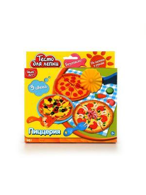 Набор тесто для лепки Multiart Пиццерия. Играем вместе. Цвет: желтый, зеленый, красный