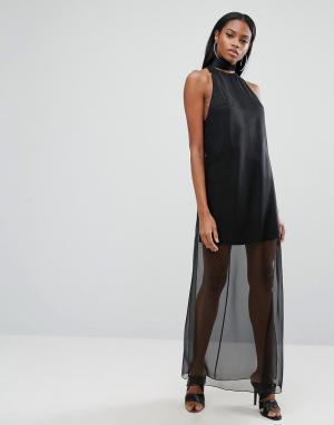 AQ Платье макси с полупрозрачной юбкой AQ/AQ. Цвет: черный