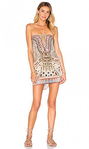 Короткое платье в восточном стиле на шнуровке Camilla. Цвет: беж