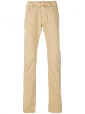 Классические приталенные брюки-чинос Jacob Cohen. Цвет: телесный