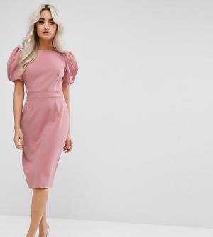 ASOS Petite Платье-футляр миди с длинными рукавами. Цвет: розовый