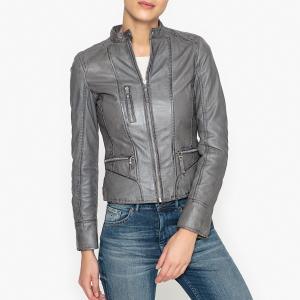 Блузон кожаный на молнии EACH OAKWOOD. Цвет: серый,черный