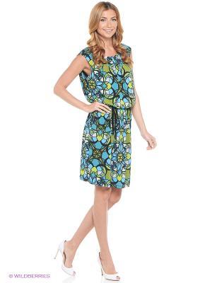 Платье London Times. Цвет: голубой, черный, зеленый