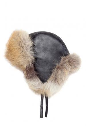 Кожаная шапка с отделкой из меха лисы 123281 Mkc. Цвет: разноцветный