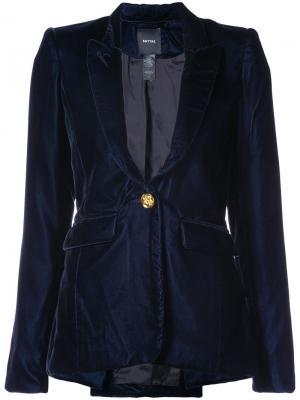 Бархатный пиджак с заостренными лацканами Smythe. Цвет: синий