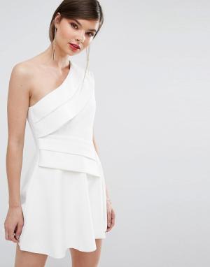 C/meo Collective Платье мини на одно плечо. Цвет: белый