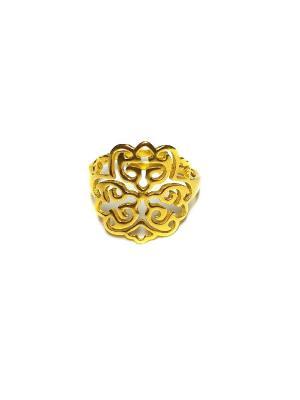 Кольцо Орнамент Amorem. Цвет: золотистый